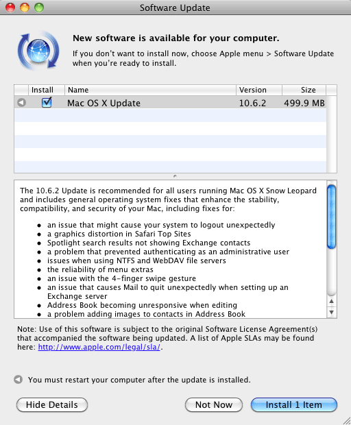 Mac OS X 10.6.2 update