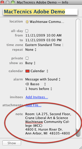 Notes in iCal appointments